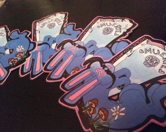 "MUERTE USAGI- 5""in. sticker or wall cling. Under Blue Lights sticker series."