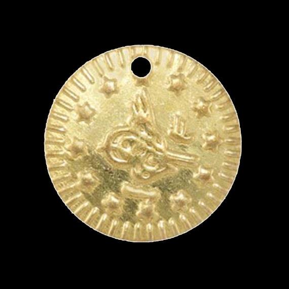 80 pcs 16 mm raw brass circle ottoman sign tag,raw brass  charms ,raw brass  pendant. raw brass findings 138R-54