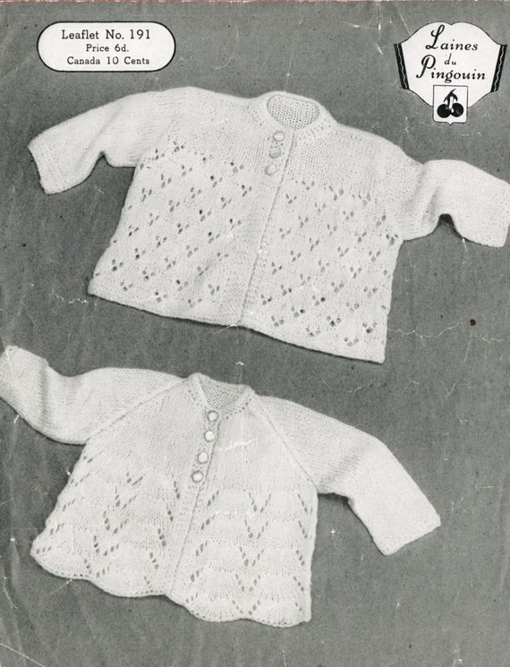 Free Knitting Pattern Cowl : Items similar to Pingouin 191 baby matinee coats vintage knitting pattern PDF...
