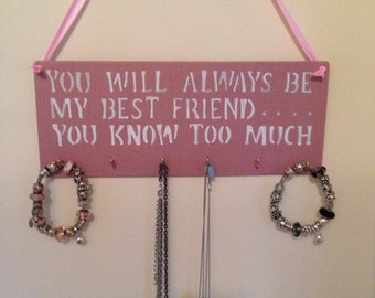 Bespoke Jewellery/Necklace or Key holder Wall Hanger.  Can be personalised.