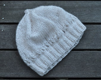 White Glamour Knitted Beret