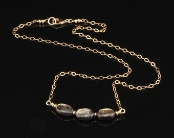 Necklace with Golden Mica Gemstones on Gold Filled Chain