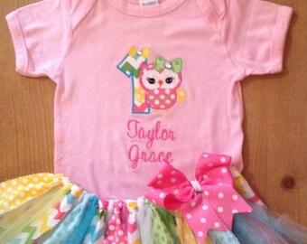 Chevron and Polka Dot Owls Birthday Tutu Outfit