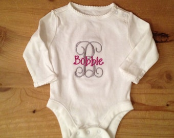 Grey and Magenta Monogram Baby Bodysuit or Shirt