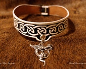 Sigríðr choker - viking age art inspired leather necklace with silver dragon pendant