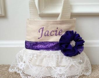 Lace Flower Girl Purse, Flower Girl Gift, Birthday Gift, Purple Wedding