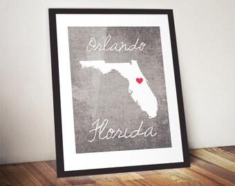Orlando Florida Concrete Print, Orlando Print, Florida Gift, State Print