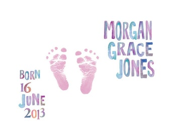 Watercolor Baby's Footprints Birth Announcement Keepsake/ Personalized Baby footprint/ Boy or Girl Nursery/Watercolor Baby announcement-8x10