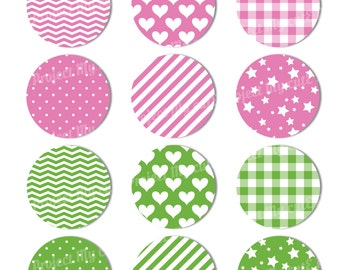 Cupcake toppers Pink and green - Instant Download
