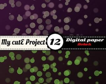 BOKEH - Instant Download - DIGITAL PAPER - 12 digital Sheet