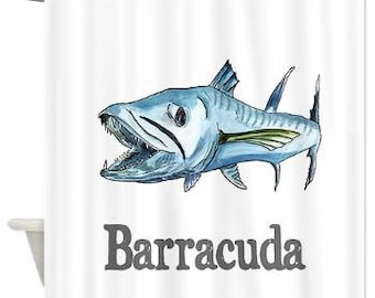 Funky Coastal Decor Shower Curtain B Is For Barracuda