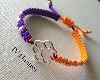 CLEMSON Tigers Game Day Bracelet/Macrame/ Orange and Purple - 1