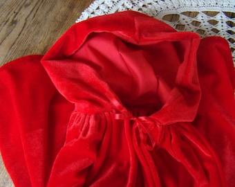 Velvet Little Red Riding Hood Cape - dress up costume - smaller size for 2-3 years