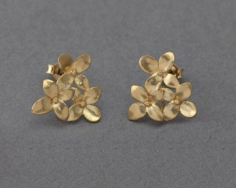 Dephnes Post Earring . Earring Component . 925 Sterling Silver Post .16K Matte Gold Plated over Brass  / 2 Pcs - AC078-MG