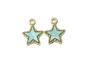 Aquamarine Acrylic Star Pendant .  Jewelry Supplies . 16K Polished Gold Plated over Pewter  / 2 Pcs - PC003-PG-AQ