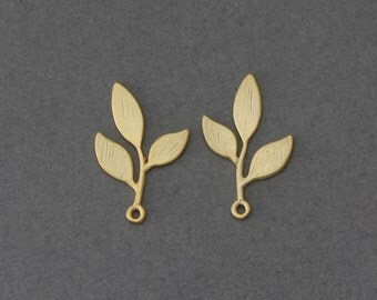 Leaves Brass Pendant . Jewelry Craft Supply . 16K Matte Gold Plated over Brass  / 2 Pcs - GC094-MG