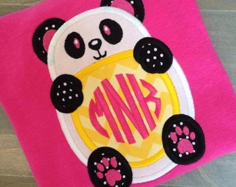 Panda Monogram Applique Design