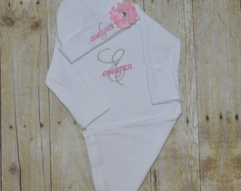 Personalized White Newborn Gown & Hat Set - Take home Outfit