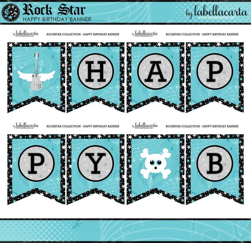 Rock Star Blue Printable Happy Birthday Banner By LaBellaCarta