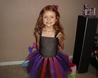 Halloween inspired tutu dress, pick with or without headband, great for Halloween parties!