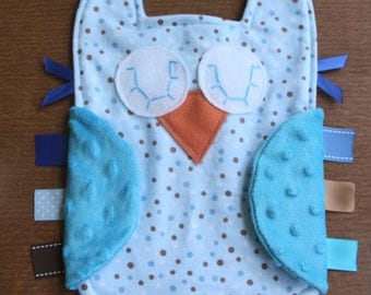 Blue and brown polka dot owl lovie with blue minky dot wings