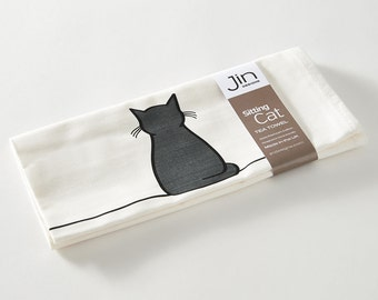 Sitting Cat Tea Towel, Gift for Cat Lovers, Cat Lover Gift, Kitchen Towel