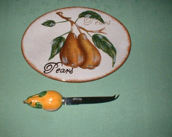 Vintage Cheese Plate and Decorative Knife - Pear Theme MINT
