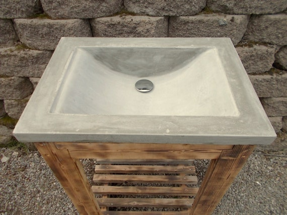 Items similar to 24 vanity w concrete top and reclaimed for 24 reclaimed wood vanity