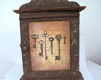 Steampunk key cabinet, altered box, jewellery hanger, holder hook wooden