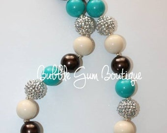 Bubble Gum Bead Necklace- Silver, Teal, Cream and Brown