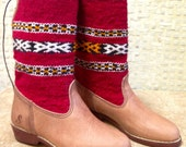 Handcrafted Moroccan Red Kilim Boot in Tan Leather - Size 37