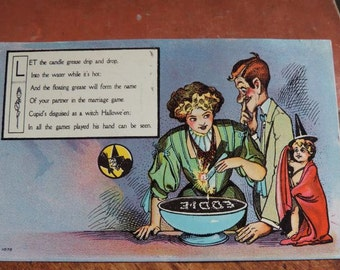 Antique Halloween Unused  Postcard ~ Candle Wax Method of Divination~Cupid Disguised as Witch