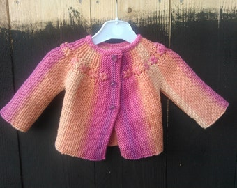 Hand knitted woollen multicolour baby jacket in Scandinavian vintage style, size 1-3 months