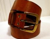 Vintage Mens Leather Belt. Brass Buckle. Golden Patina.