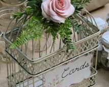 Wedding Birdcage Card Holder - Ivory Antique Vintage Handmade Soft Pink Rose Flower