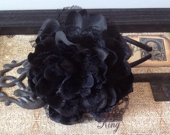 Large Black Tulle and Chiffon Flower Headband/With or Without Rhinestone Center/Headband is Approx 5 x 5 inches.