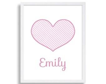 Heart Print Personalized Nursery Decor Pink Nursery Baby Girls Room Pink Heart Nursery Prints Elegant Nursery Art Big Heart I love You Print