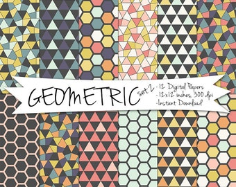 Geometric Digital Paper // Hexagon and Triangle Printable Paper // Instant Download Geometric Paper // Hexagon Digital Paper