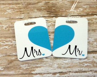 Personalized Set of Mr. and Mrs. Luggage Tags - Double Sided- Wedding - Bridal Shower-Bride-Newlywed-Honeymoon-Bride luggage tag