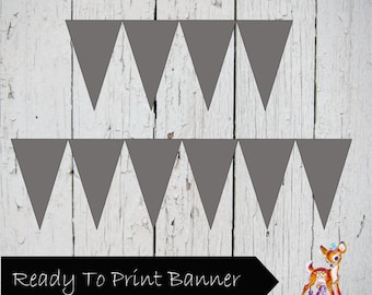 Instant Download Printable Solid Gray Banner Bunting Flag pennant Sign