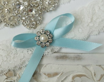 Wedding Garter, Bridal Garter, Vintage Wedding, Stretch Lace Garter, Crystal Garter, Something Blue