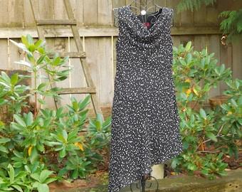 Vintage Dress Alyn Paige Dress Black White Dot  Ruffled Edge Scoop Neck