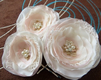 Blush Bridal hair clips , Blush wedding hair piece, bridal hair clips, wedding hair accessories, wedding hair flower, READY TO SHIP