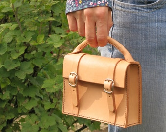 Mini satchel leather hand bag