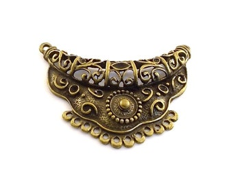 Pendant Large Ornate Antique Brass 64mm