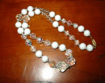 """Crystal Aurora Borealis and White Glass Beaded 20"""" Necklace"""