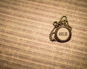 221B Baker Street Pendant BBC Sherlock Holmes Inspired Necklace