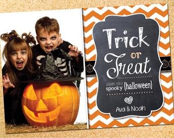 Halloween Photo Card - Trick or Treat - Customizable - Printable - DIY