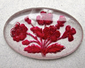 Beautiful Large Reverse Painted Glass Cabochon