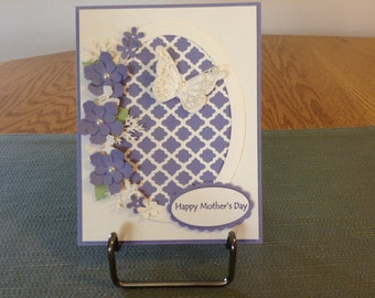 Ivory and lavender floral Mother Day Card.